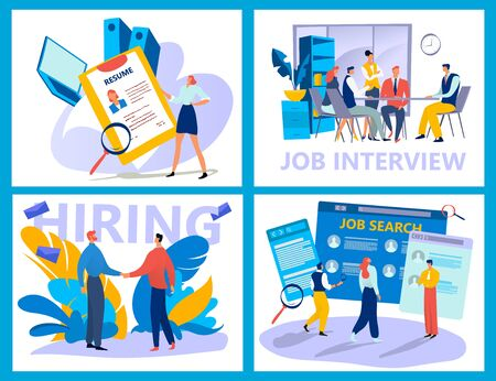 Menschen suchen nach Job, Arbeitgeber, der nach Kandidaten sucht, Lebenslauf für Freiberufler, Vektorgrafiken. Bewerbungsgespräch und Rekrutierungsprozess, Suche nach Stellenangeboten online. Personalgespräche mit Personen
