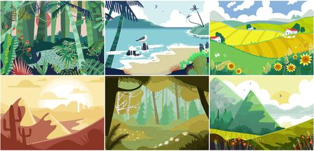 Landscape background, beautiful nature outdoor, forest, mountains and ocean, vector illustration. Set of nature backdrops, rural village fields, desert rocks canyon, mountain meadow and sea beach Illustration