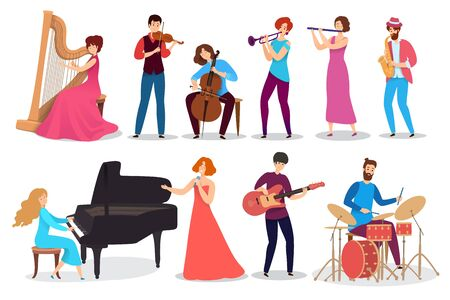 People playing musical instruments, set of isolated cartoon characters, vector illustration. Men and women play music in different styles, violin, saxophone, harp and guitar. Happy creative musicians