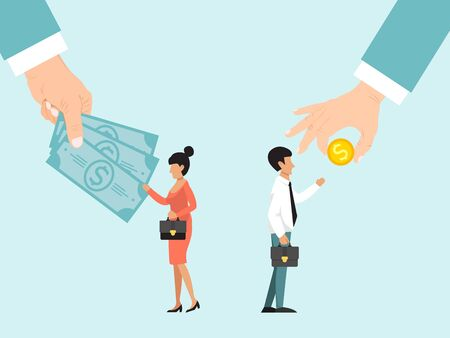 Business concept of different salary for gender equal vector illustration. Business managers with differing gender gap and salaries. Wages business management, pay competition offering