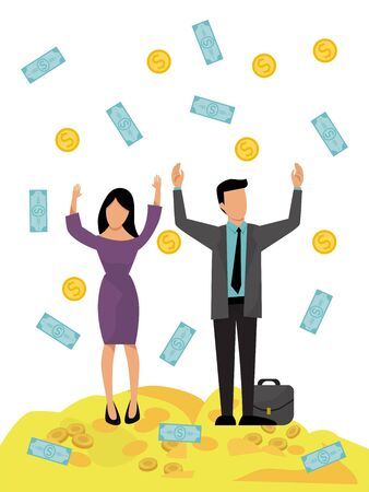 Rich business couple money rain vector illustration. Man and woman financial success. Happy successful businessmen money shower. Business people stand on golden coins under the falling dollars.
