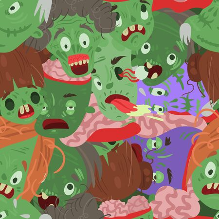 Zombie and Halloween seamless pattern vector illustration. Cartoon characters evil monsters wallpapers.
