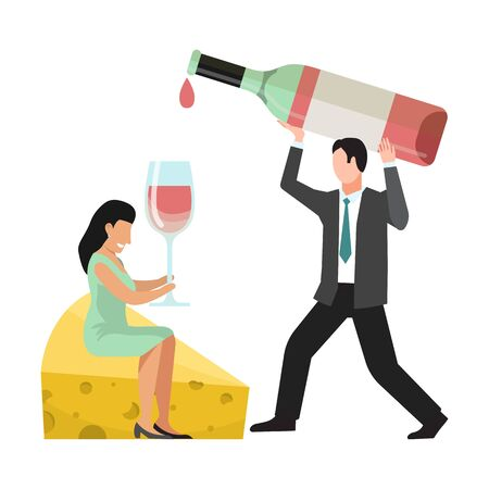 People wine tasting concept. Huge bottle, wineglass, cheese and tiny characters vector illustration. Man pours wines into a giant glass for woman sitting on big cheese piece