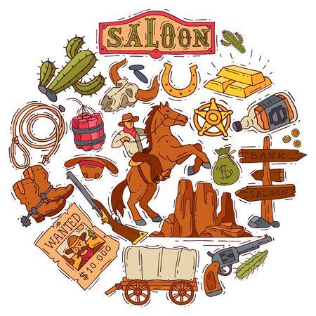 Round composition with wild west elements. Wild west set vector illustration. Colorful icons cowboy, cactus, hat, sheriff and horseshoe. Vektorové ilustrace