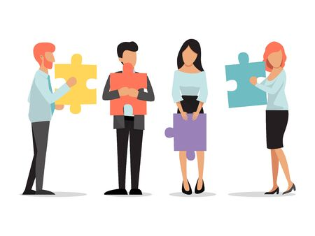 Business people standing and holding puzzle pieces. Teamwork business concept of unity and partnership vector illustration. Men and women with puzzles stand together. Company office employees teamwork