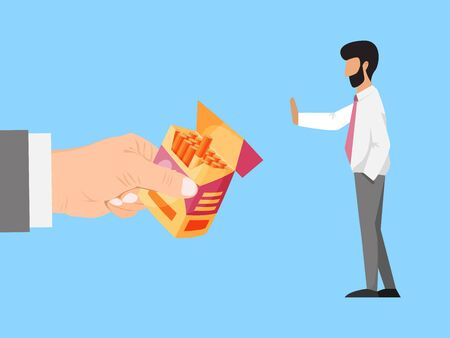 Hand offers cigarettes to businessman refuses vector illustration. Business man refuse cigarettes. Stop smoking concept. Tobacco addiction and refused person