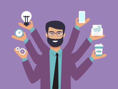 Business man surrounded by hands with office things. Multitasking and time management concept. Multiarmed businessman in suit with office tools Illustration