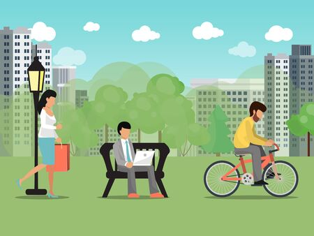 People in summer city park vector illustration. Characters recreation and work outdoor park. Woman walking, male riding cycle. Business man sit on bench, works on laptop. Summertime citizens activity