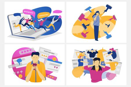 Cyber bullying concept, school kids harassment and teen pressure online, vector illustration