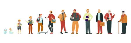 Man in different age, stages of growing up from baby to old pensioner, vector illustration. Aging process, life of average man. Childhood, education, traveling, retirement. Isolated cartoon characters
