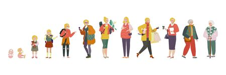 Woman in different age, stages of growing up from baby to old lady vector illustration. Aging process, life of average woman. Childhood, education, pregnancy and retirement. Isolated cartoon character