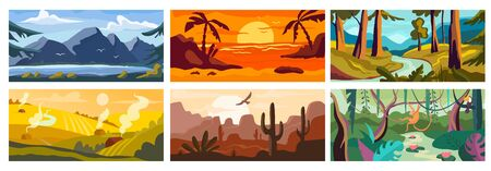 Landscape background, beautiful nature outdoor, forest and ocean beach, vector illustration. Set of nature backdrops, village fields, desert canyon, mountain lake and jungle river wildlife landscape