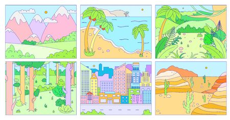 Landscape background, outdoor nature and city in flat style, environment vector illustration