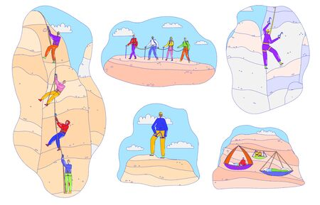 Mountain climbing line people, active outdoor adventure, extreme sport hobby, vector illustration. Group of climbers ascending mountain, people characters. Mountaineering climb trip, active people