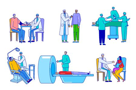 Doctor patient lineart characters people in medical clinic, healthcare hospital, vector illustration