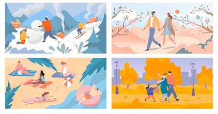 Four seasons of year winter, spring, summer and autumn, people spend time outdoor, vector illustration