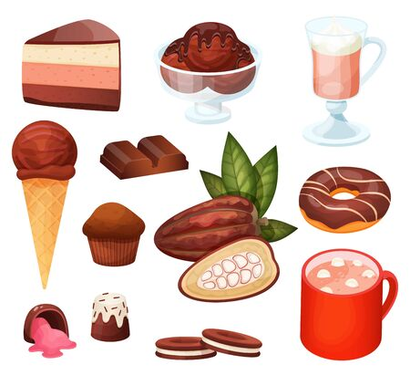 Chocolate dessert menu in cafe, set of isolated sweets and confections, vector illustration. Bakery dessert assortment, chocolate ice cream and slice of cake. Tasty beverage in cafe, sweet food set