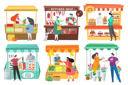 People at food market buy and sell farm products, fruit and vegetable stall, vector illustration. Healthy food at marketplace, men and women cartoon characters. Butcher shop, bakery and seafood market