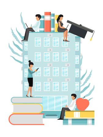 Tiny people characters knowledge learning educated concept. Education, school, university set of books, cups vector illustration. Personal growth degree using book research and literature educating Ilustracja
