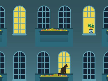 City windows at night vector illustration. House building window lights. Urban exterior nights lights. Outside view of evening city landscape