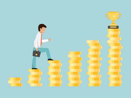 Businessman climbing on stair to trophy cup vector illustration. Man step on coin stairs to goal. Business success path to win cup. Illusztráció
