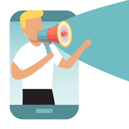Man from smartphone shouting into a megaphone marketing announcement. Refer a friends concept. Man with loudspeaker and referral program. Digital business advertising, social media marketing Ilustrace