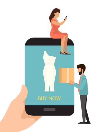 Buying dress online concept. Woman buys clothes on line by phone application. Man and woman buy things in the online store. E-commerce, customer on the sale choosing dresses. Internet marketing 일러스트