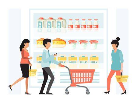People shopping in grocery vector illustration. Man and women with cart in retail supermarket. Big store people shopping concept. Different persons with trolleys in dairy products department