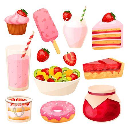 Strawberry dessert set, summer cafe menu, cake and milkshake isolated on white, vector illustration Vektorgrafik