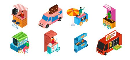 Street food truck, isometric set isolated on white, snack stall and ice cream kiosk, vector illustration