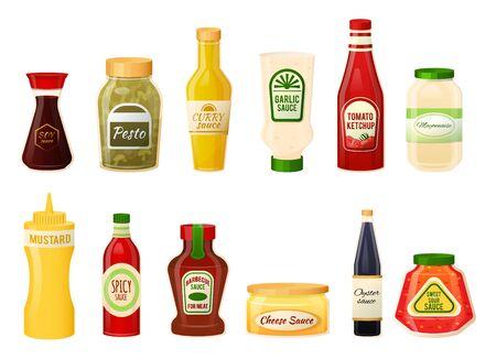 Bouteilles de sauce isolées sur blanc, ketchup, moutarde et mayonnaise, illustration vectorielle