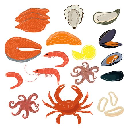 Seafood isolated on white, set of fresh ocean delicacies, oyster, prawn and shrimp, vector illustration Иллюстрация