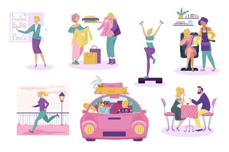 Woman daily life, girl cartoon character everyday routine, people isolated set, vector illustration