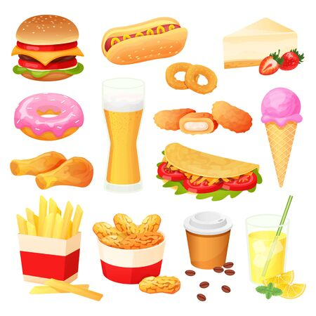 Fast food isolated set, snack menu collection, hamburger and sweets, vector illustration