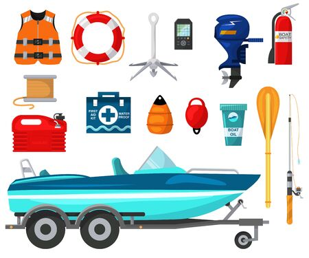 Motorboat equip vector illustration for outdoor water activity.Boat with motor and equipment for fishing leisure isolated