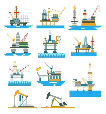 Oil rigs fuel industry platform vector illustration. Set of offshore and land exploration and boring of mineral oil. Vektorové ilustrace