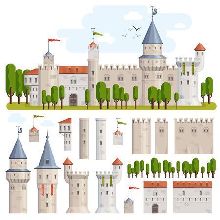 Castles constructor vector illustration game set with elements of old medieval towers and fortress with trees near by.