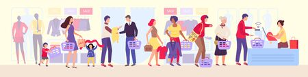 Shopping queue in clothing store vector illustration, queueing the group of people in shop during the sale, cartoon character man queues in line. Woman, kids clothes in basket.Cashier shopping counter Vettoriali
