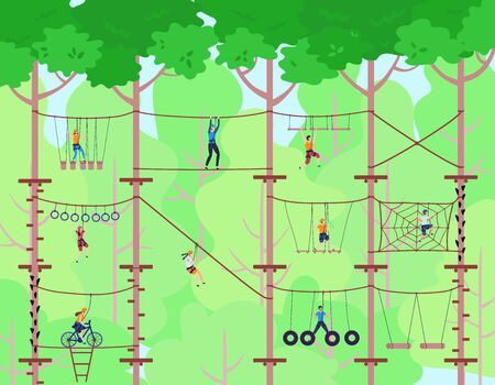 Adventure rope park vector illustration. Children have sport activity on adventure playground. Adventurous kids in rope park climbing high wood ladder. Extreme ropewalk safety fun leisure green forest