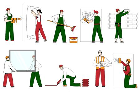 Builder people in helmets, work clothes on building line art vector character illustration isolated on white. Worker person builds, lay tiles, bricks, glass. Mans and brush, wallpaper, roller, drill.