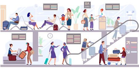 Departure people lounge at the airport terminal vector illustration. Passengers check in the baggage and wait to depart near gate. Stewardess goes up the escalator to the aircraft. People seat, await