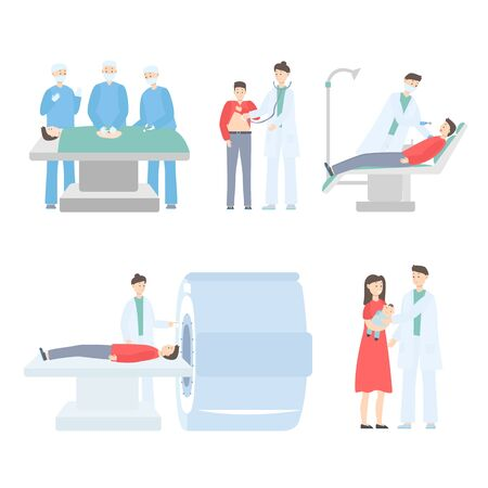 Medicine doctor operate, diagnose, treat patient on hand drawn vector illustration isolated on white. Medics consulting practitioner determines diagnosis, measures pressure, takes baby, treat teeth.