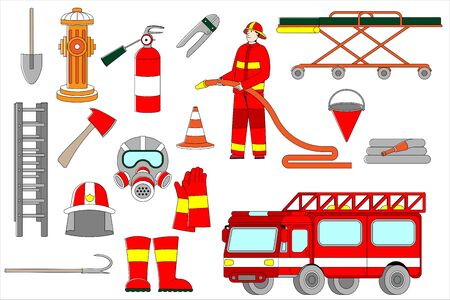 Professional firefighter in uniform in helmet, extinguisher, hydrant, car and stairs fireman vector illustration isolated on white. Man with gloves, boots, shovel and stretcher bed on wheels