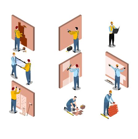 Isometric builder architect set with building worker person characters vector illustration isolated on white.