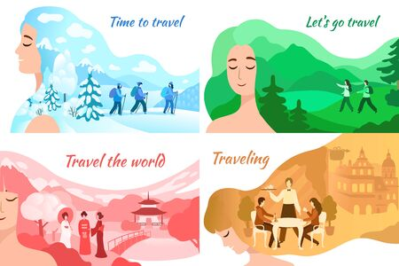 Girls with landscape in form of winter, summer scenery on hair on vector hand drawn illustration