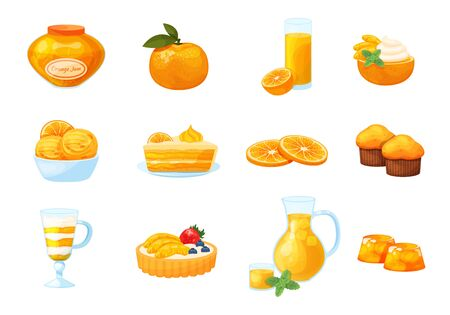 Citrus dessert with jam, pancake, cupcake, juice vector citrous illustration isolated on white. Set with fresh drinks, pie, pudding, jelly, cake with cream. whole citrus, half, slice pieces.