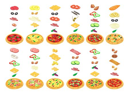 Pizza constructor with kinds food in vector isometric illustration. make in pizzeria isolated on white