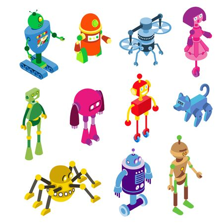 Robots collection on vector robotic characters illustration isolated on white. Robotized toys in isometric machine style