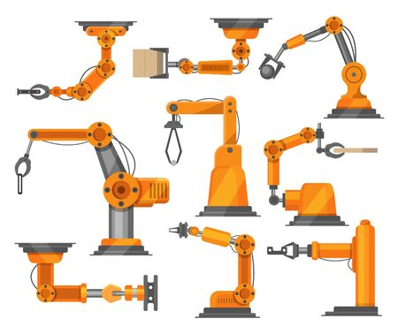 Industrial robots manipulators collection vector robotic illustration isolated on white. Robotized arm modern industry robotically technology. Factory machinery automatic element. Manufacture set