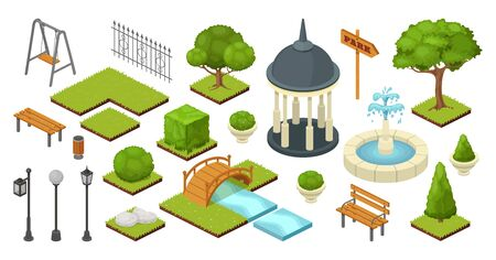 landscape garden outdoor nature elements in vector isometric park illustration isolated on white. Gardening ecology summer set with trees, bushes, bench and bridge. Gardening alcove, lantern, fence Illustration